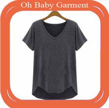 OEM cotton/polyesterloose blank v-neck short sleeve women's tshirt
