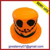 Yiwu Factory Direct Sale Custom Halloween Party Make Velour Pumpkin Yellow Halloween Hat