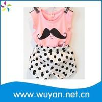 China wholesale Pink fashion Short Sleeve kids girls clothes sets