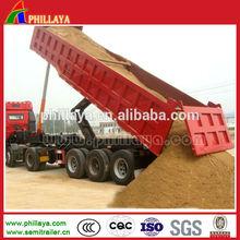 3 axle tipper semi trailer for sand / rock / mine transportation
