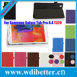 Color Stand Folding Flip Folio Litchi Book Smart Cover Case Tablet PC Skin Shell Leather For Samsung Galaxy Tab Pro T320