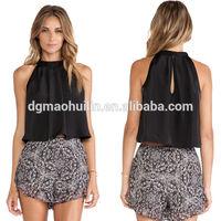 Chiffon pleat neck blouse top womens fashion 2014