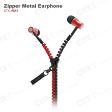 latest hot products 2014 wired zipper earbuds for car manufacturer promotional