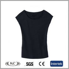 high quality popular 100% organic cotton black sleeveless bulk blank t-shirt for man