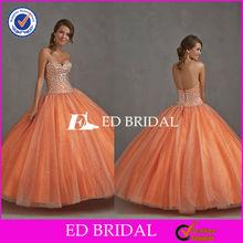2785 Stunning Orange Custom Made Shiny Heavy Beaded Open Back Ball Gown Patterns