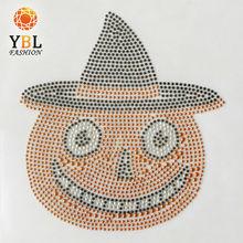 Cute pumpkin with hats wholesale iron on rhinestone
