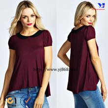 2014 Short sleeves peter pan collar sexy fahion beautiful lady t-shirt