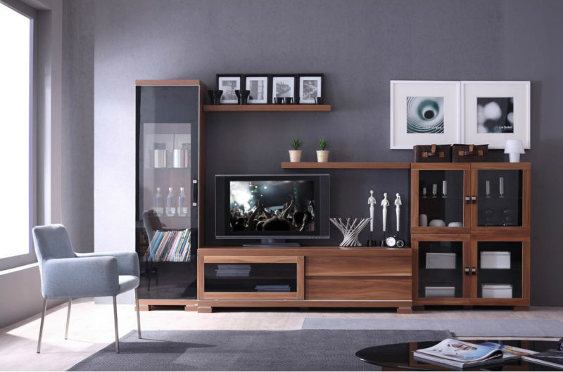 2014 Modern Living Room Furniture Tv Wall Unit Design Was Made From E1 Solid