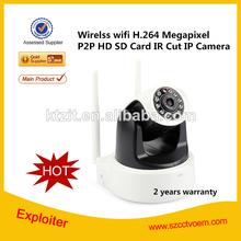 WIFI H.264 720P Mega pixels CMOS sensor P2P wireless pan tilt ip camera