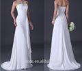 Custom Made a linha strapless plissado até o chão branco appliqued chiffon vestido da dama de padrões 2014 rbd7301