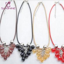 cristal uva cluster com corda cadeia pingente colar