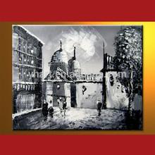 Wholesale Handmade Modern Triumphal Arch Black And White Paris Oil Painting