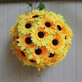 2014 venda quente decorativa artificial girassol bola de tecido de seda& girassol bola para o casamento dos pais& decoração dia