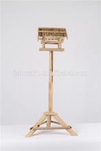 BSCI factory nature wooden bird feeder,outdoor stand bird feeder made from weatherproof solid wood