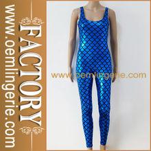 Blue Sleeveless Mermaid Style PVC Catsuit