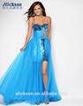 strapless floor duração lantejoulas do laço de tule com cercadura azul frente curta e longa volta vestido de baile