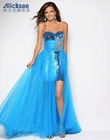 Strapless Floor Length Sequin Lace Tulle Beaded Blue Front Short And Long Back Prom Dress