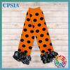 Fashion New Arrival Halloween Leg warmers Orange Black Polk Dots With Black White Spider Web Satin ruffled