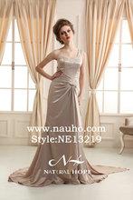 Union Fashion Li long sheath new model grey one shoulder evening dress