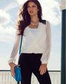 mujeres de moda casual slim fit estilo gasa blusas camisa modelo