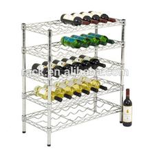 NSF 5 Shelf Chrome Wire Mesh Decorative Wine Bottle Shelf- 15 Year Wire Shelf Experts