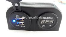 High quality 2 USB Ports power Charger socket With DC12v Voltmeter Digital volt meter Tent panel mount For Car Boat Marine
