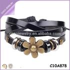 fashion for middle aged women vintage flower leather bracelet wholesale