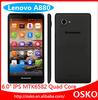 original lenovo A880 Android 4.2.2 MTK6582 1.3GHZ 6 inch Quad core GPS WCDMA 3G Cellphone lenovo A880