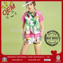 women's tropical style o-neck tee
