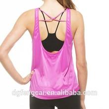 Neon pink Built in bra 92 polyester 8 spandex custom stringer tank top