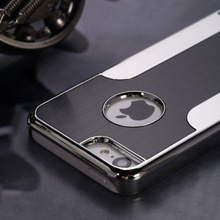 C1285 Black Luxury Brushed Aluminum Chrome Hard Case For iPhone 5 5G 6th+Stylus+Film