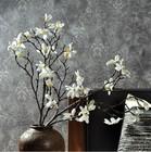 2014 SJ AF109 Wholesale artificial white magnolia for hotel wedding decor fake silk flower artificial magnolia flower with pot