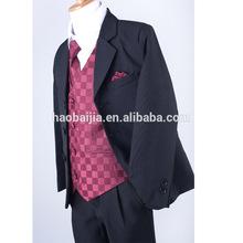 Boys Black Burgundy 5pc Formal Suit Wedding Tuxedo Function children clothing 00/0/12M/18M/2/3/4/5/6/7/8/10/12/14/16