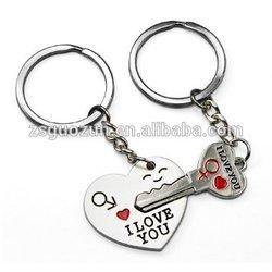 Romantic Heart & key Couple Keychain Metal Boy Girl Love Lovers Sweethearts Key Chain Ring Key Ring Chain