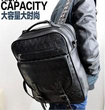 Hot Sale men's Fashion skull emboss PU Leather backpack Bag Handbag rivet bag