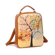 BV6049 hefei zhijing Handbags 2014 new small lock colorful double backs season tree stamps cartoon backpacks for students
