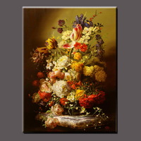 Handpainted Oil Painting Flowers In Vases For Livingroom Oil Painting With Frames Stretched Home Decoration