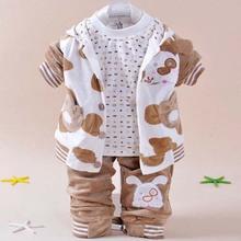 Tcv5046 Autumn latest design baby wear Korean puppy three-piece velour baby boy boutique clothing set