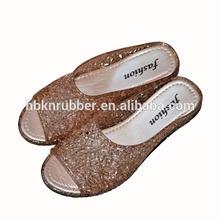 Ladies Golden Crystal Jelly Sandal