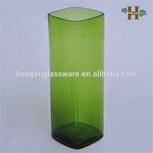 Colored square round corner glass vase, handblown table use glassware