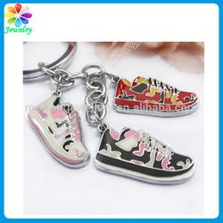 Pormotional metal shoe keychain silicone shoe keyring mini running shoe keychain
