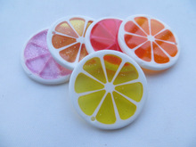Look!!Cheapest big lemon round flatback 33mm Mix Colorful Chunky Acrylic resin Pendant for Chunky Kids Necklace Jewelry