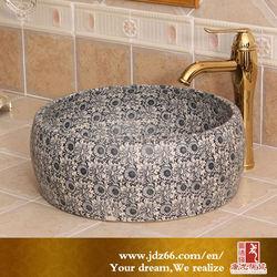 Good Quality Glaze Art Ceramic granite sink Wash Basin with Sunflowers Decoration