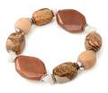 2014 novo luxo semi preciosas marrom areia pedra de mármore de pedra natural contas de madeira redonda pulseira elástica