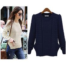 Women's long sleeve designs asymmetric Hem Pullover Knitted Tops Jumper Knitwear Sweater Coat for women SV004935