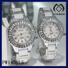 fashion ceramic watches for men and women*zircon stone bezel white ceramic pair watches