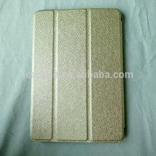 2014 luxury golden grain Case For ipad mini, case with 3 folds
