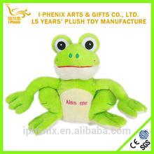 2014custom wholesale stuffed animal cute girl gifts green plush Valentine frog