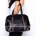 2014 fashion women brand handbag,lady hand bag with golden rhomb rivets PU bag made in china manufacture
