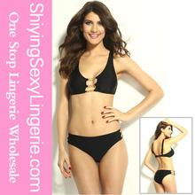 Modest low waisted Swimsuit girls black bikini in stock